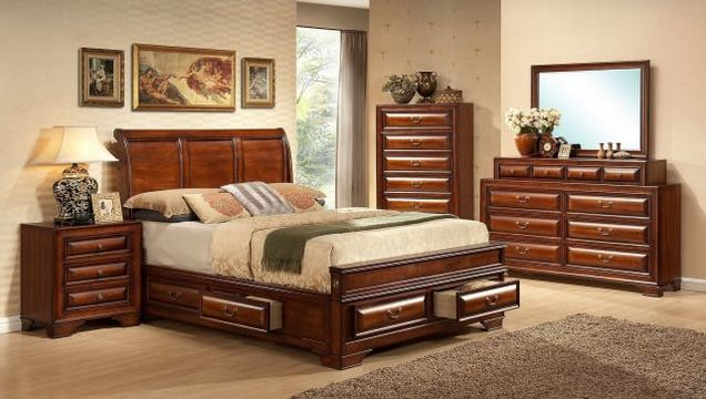 1172 Storage Bed Queen Set $1199.99 King Set $1299.99. Extra Nightstand  $149.99. Fruitwood Finish, 6 Drawer Bed